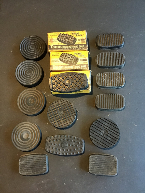 Lot of 19 vintage Doan pedal pads Ford Chevrolet Chrysler - Andrew's Automotive Archaeology