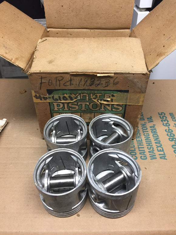 1932-1936 Ford 90 HP flathead SEMI finished 3-groove aluminum flat top pistons 4 - Andrew's Automotive Archaeology
