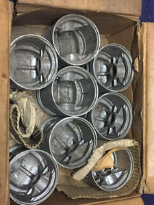 1935-1942 Ford 85-90 HP 221 flathead V8 piston set 01T-6110-J .040 NORS - Andrew's Automotive Archaeology