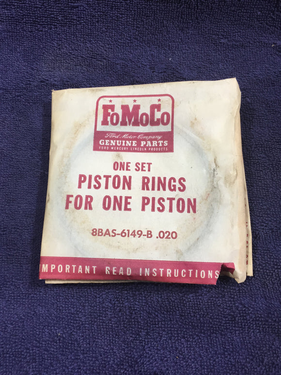 1939-1953 Ford flathead 100 HP 239 V8 pistons rings .020 8BAS-6149-B NOS - Andrew's Automotive Archaeology