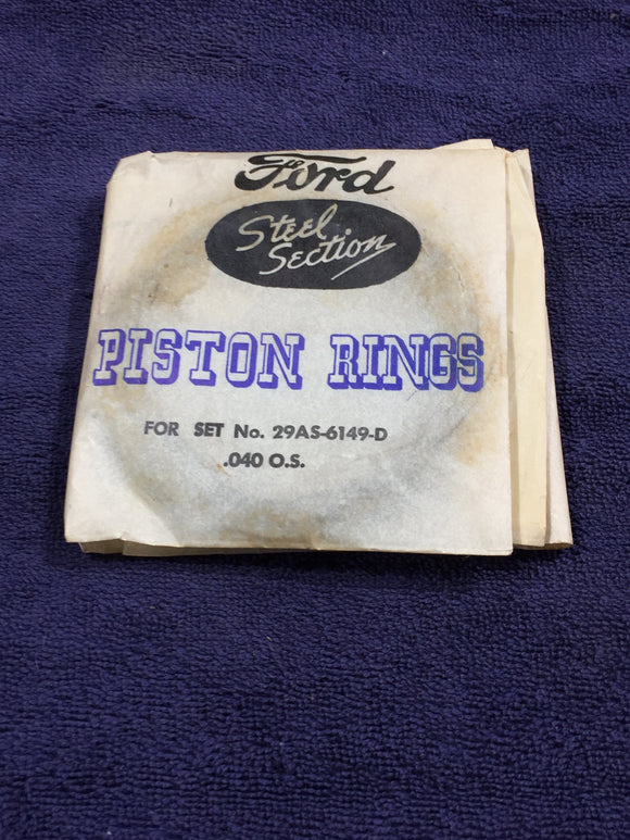 1939-1953 Ford flathead 100 HP 239 V8 piston rings .040 29AS-6149-D NOS - Andrew's Automotive Archaeology