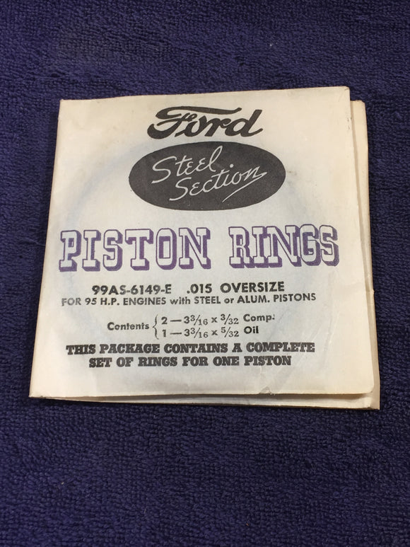 1939-1941 Ford flathead 100 HP 239 V8 piston rings .015 99AS-6149-E NOS - Andrew's Automotive Archaeology
