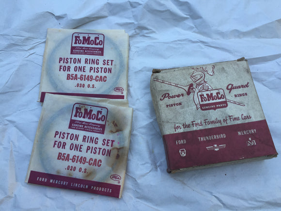 1955-1958 Ford 292 Y-block piston ring set two cylinders B8C-6148-AAC .030 low m - Andrew's Automotive Archaeology