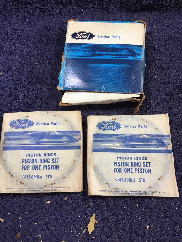 1955-1966 Ford 352 FE V8 piston rings STD C8TZ-6148-A - Andrew's Automotive Archaeology