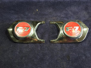 1952 Ford truck F-7 hood medallion emblem PAIR NOS - Andrew's Automotive Archaeology