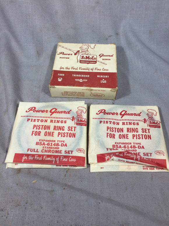 1955-1960 Ford 292 y-block piston ring set 2 cylinders STD B5A-6148-DA NOS - Andrew's Automotive Archaeology