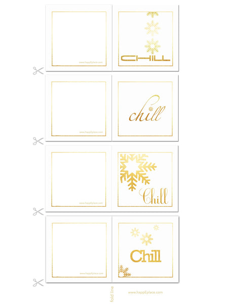 HappEplace FREE Printable Gift cards, gold