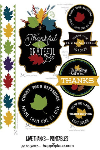 GIVE THANKS!  Thanksgiving printable gift tags