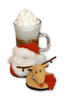 SET OF 4,  SANTA attachable PLUSH Coasters