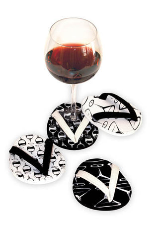 Black and White, ATTACHABLE COASTERS, set of 4