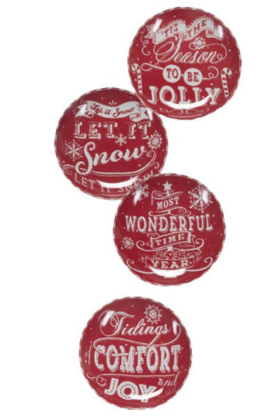 SET OF 4, RED AND WHITE, Christmas Ceramic plates-