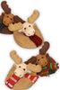 SET OF 4, CHOCOLATE MOOSE, Plush Slipper coasters