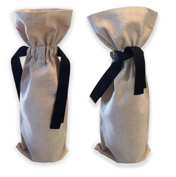 linen blend wine tote