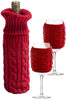 RED, CABLE KNIT Bottle and Glass Coozie SET