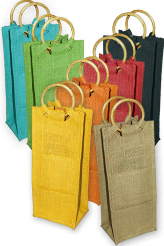Jute Tote w/cane handle