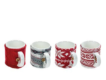 Set of 4 Ceramic Mugs with Knit coozies,  in Jute Gift Bag!