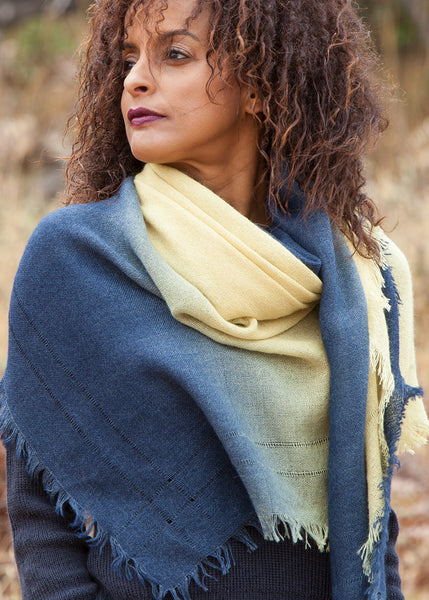 Ombre hand dyed rectangle scarf yellow to midnight blue