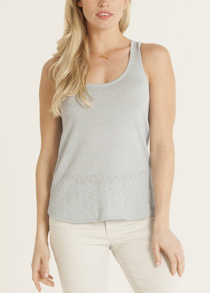 Carmen knit lace top- color sky