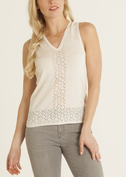 Abigal pointelle knit silk top, ivory