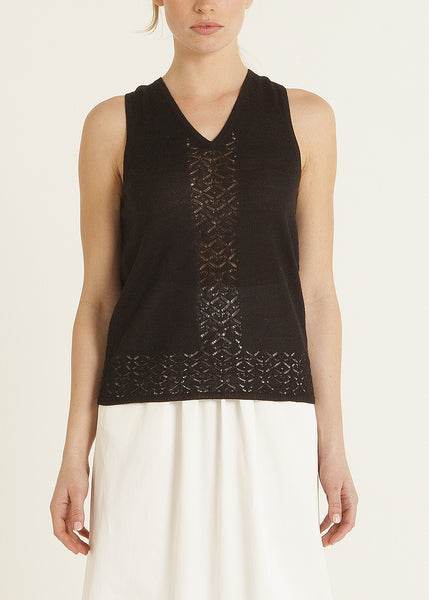 Abigal pointelle knit silk top, black