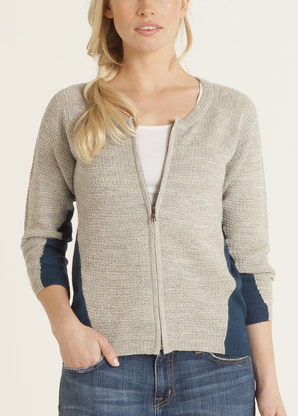 Ana lightweight knit cardigan with front zipper- navy | silver