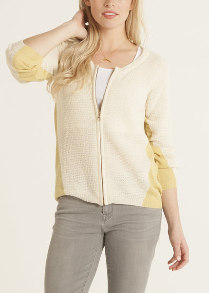 Ana lightweight cardigan with front zip in saffron | cream