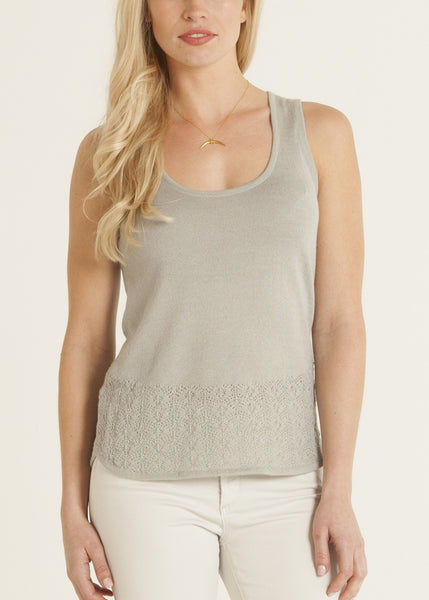 Carmen knit lace top- color celadon
