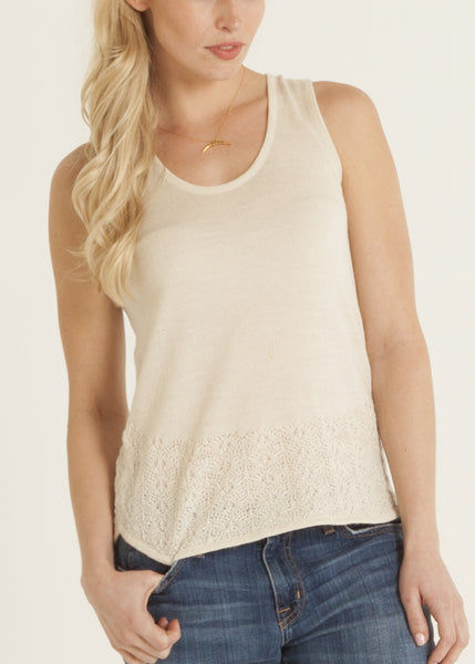 Carmen knit lace top in cream