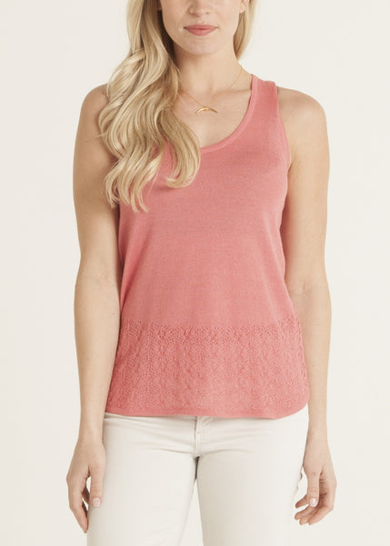 Carmen knit lace top- color coral