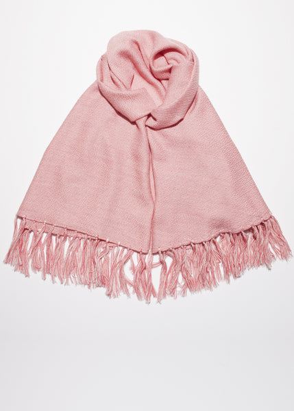 Fringe shawl in coral