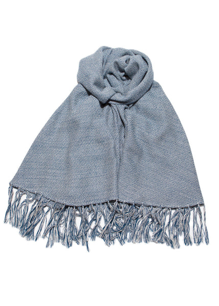 Fringe shawl in navy