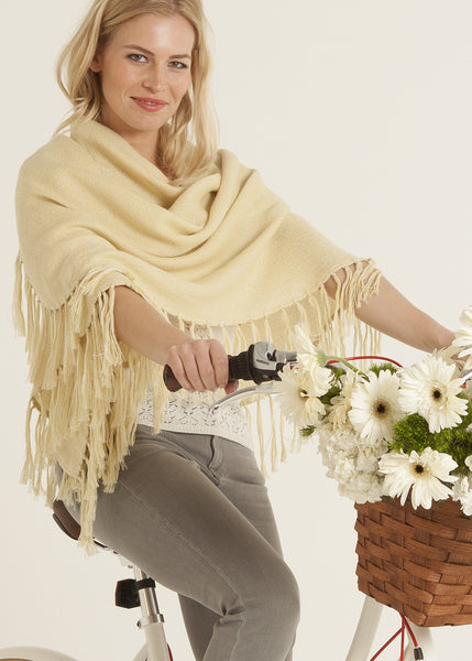 Fringe alpaca wrap in yellow
