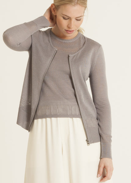 Jazmine pointelle knit zip front cardigan, violet gray