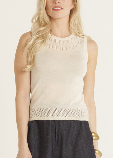 Jazmine pointelle knit top, cream