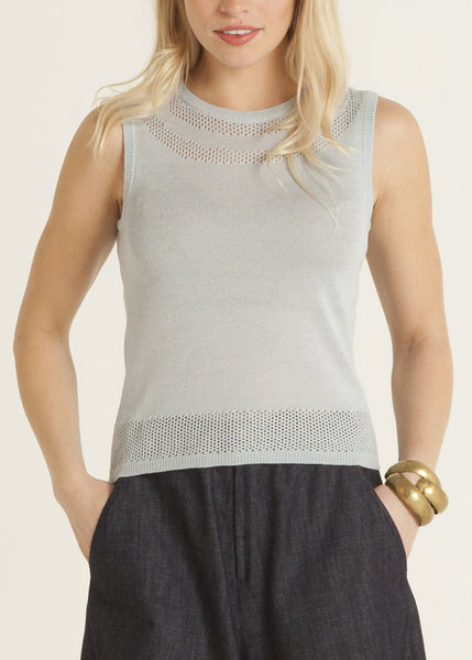 Jazmine pointelle knit top, sky