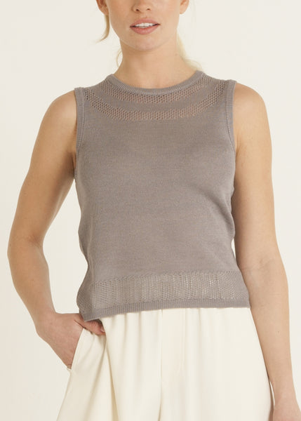 Jazmine pointelle knit top, violet gray
