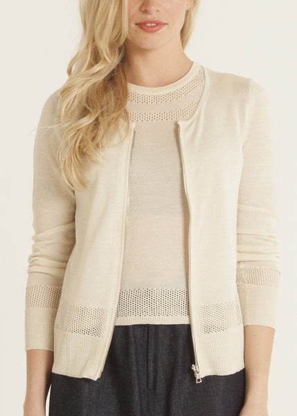 Jazmine pointelle knit zip front cardigan in cream