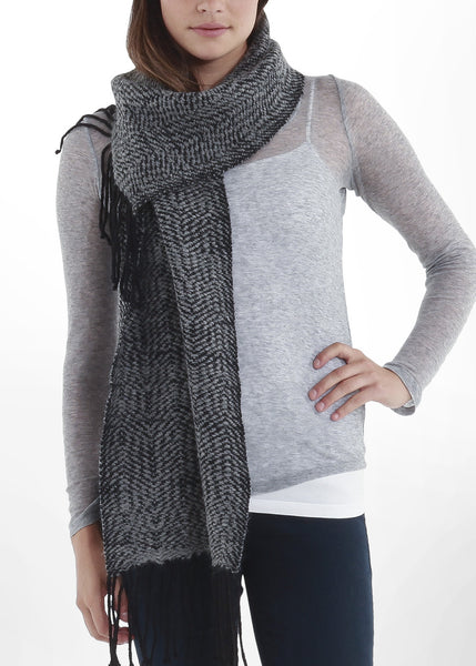 Kyla Scarf in Black/Charcoal