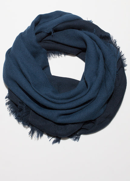 Ombre hand dyed square scarf midnight blue to black