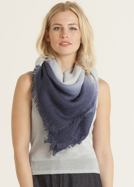 Ombre hand dyed square scarf sky to midnight blue