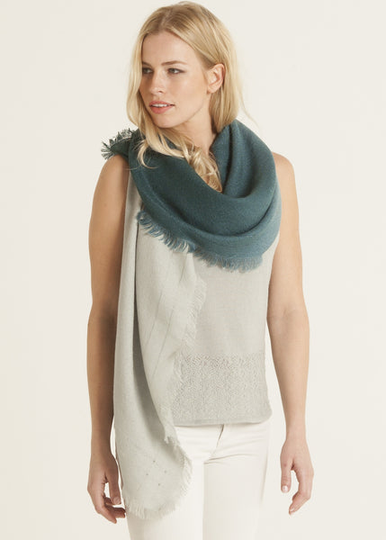 Ombre hand dyed rectangle scarf celadon to evergreen