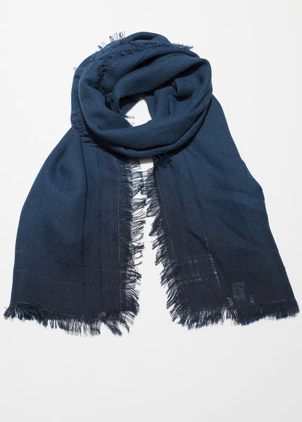 Ombre hand dyed rectangle scarf midnight blue to black