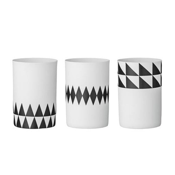 Bloomingville 3 Assorted Graphic Votives, Black