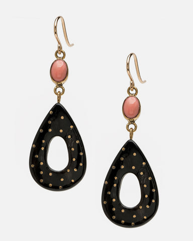 Bendi Earring Dark Horn with Coral