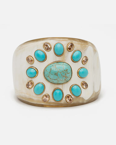 BENDI CUFF LIGHT HORN WITH TURQUOISE