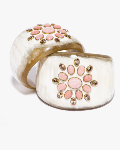 Bendi Cuff Light Horn with Coral