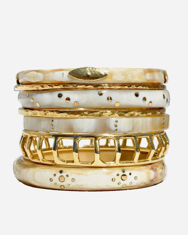 APC Exclusive White and Bronze Bangle Set