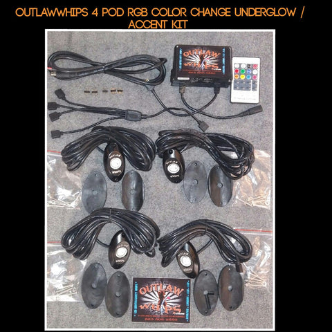 OutlawWhips ~ RGB Color Change Pod Kit - Underglow / Accent Lighting