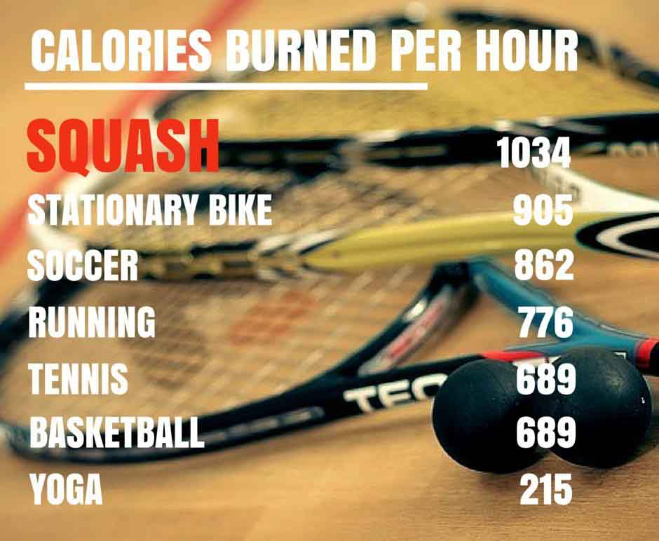 Calories burned per hour - Squash and other activities compared.