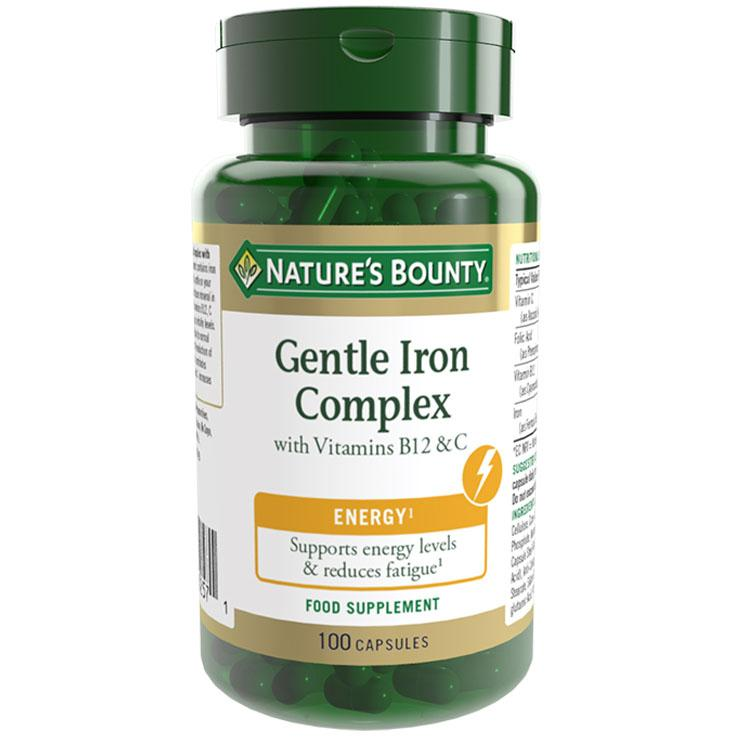 Image of Natures Bounty Gentle Iron Complex with Vitamins - 100 Capsules